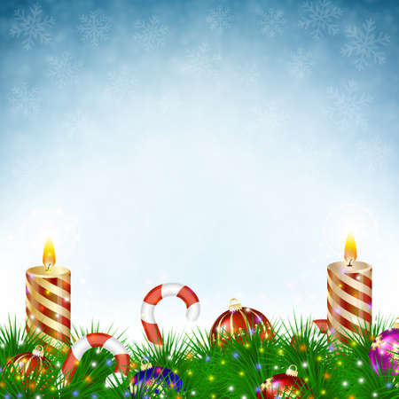 evergreen trees: Two burning Christmas candles with Christmas balls, candy canes and pine branches in snowfall on blue background