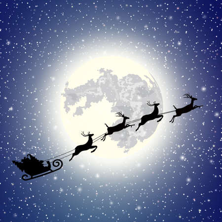 reindeers: silhouette Santa Claus sleigh. Moon sky background . Christmas vector illustration Illustration