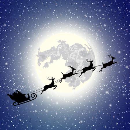 silhouette Santa Claus sleigh. Moon sky background . Christmas vector illustration Illustration