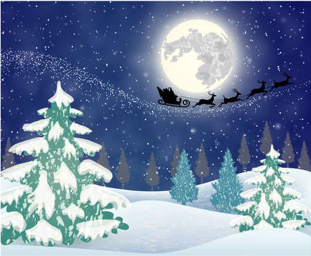 claus: background of night sky with a bright moon and the silhouette of Santa Claus flying on a sleigh pulled by reindeer. concept for greeting or postal card, vector illustration