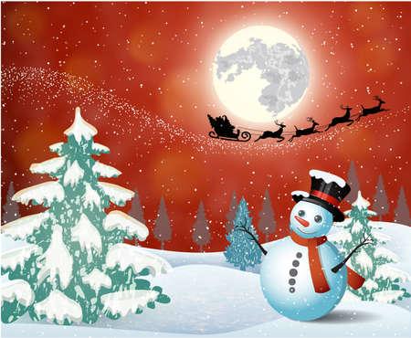 renna: Pupazzo di neve sveglio sullo sfondo del cielo notturno con una luna luminosa e la silhouette di Babbo Natale volare su una slitta trainata da renne. concetto per auguri o cartolina postale, illustrazione vettoriale