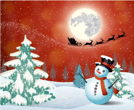 Cute snowman on the background of night sky with a bright moon and the silhouette of Santa Claus flying on a sleigh pulled by reindeer. concept for greeting or postal card, vector illustration