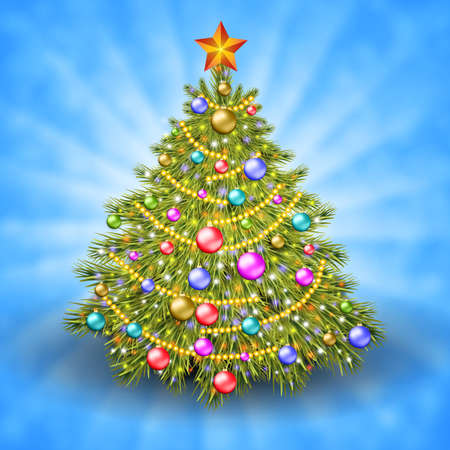 light beams: Christmas tree with colorful baubles and gold star on the top. Vector illustration. Glowing festive background with light beams