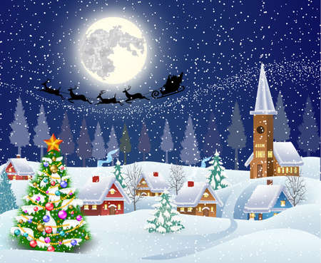 cartoon present: New year and Christmas winter landscape with christmas tree .  background with moon and the silhouette of Santa Claus flying on a sleigh. concept for greeting or postal card, vector illustration