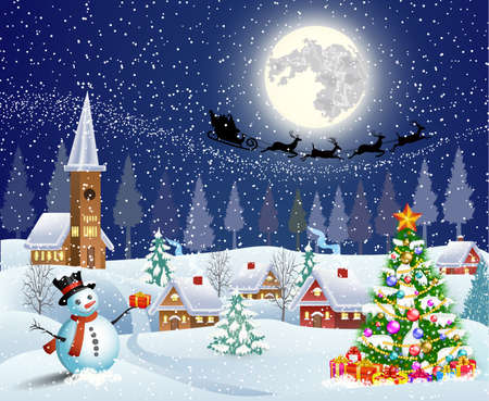 winter scene: Christmas landscape with christmas tree and snowman with gifbox.  background with moon and the silhouette of Santa Claus flying on a sleigh. concept for greeting or postal card, vector illustration