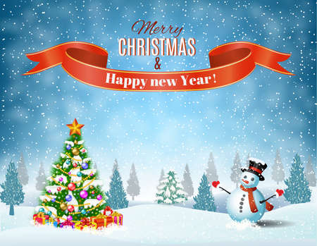 country landscape: New year and Christmas winter landscape background with snowman and christmas tree, giftbox. Vector illustration