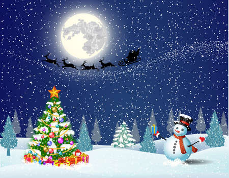 tree illustration: Cute snowman and Christmas tree with giftbox,  on the background of night sky with  moon and the silhouette of Santa Claus flying on a sleigh . concept for greeting or postal card, vector illustration