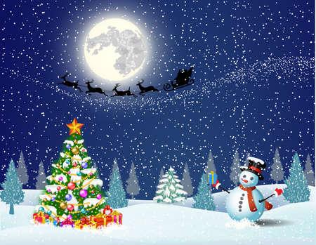 papa noel: Muñeco de nieve lindo y árbol de Navidad con caja de regalo, en el fondo de cielo de la noche con la luna y la silueta de Santa Claus volando en un trineo. concepto para el saludo o la tarjeta postal, ilustración vectorial Vectores