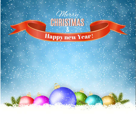 winter holiday: New year and  Merry Christmas Winter background with christmas balls . Vector illustration