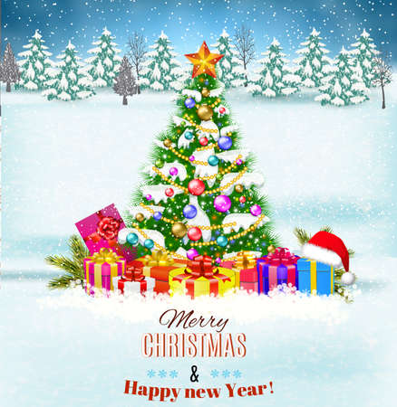 postal card: Merry Christmas and  new year background with christmas tree and gift boxes. Vector illustration. concept for greeting or postal card