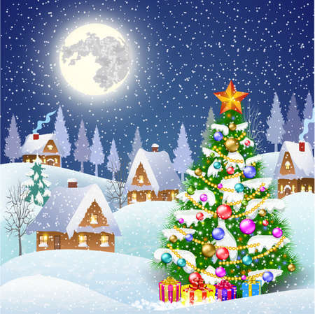 New year and Christmas winter landscape background with christmas tree and giftbox. Vector illustration Stock Vector - 46551301