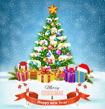 postal card: New year and  Merry Christmas Winter background with christmas tree, presents and giftbox. Vector illustration. concept for greeting or postal card. Illustration
