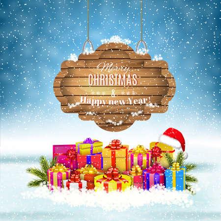 cajas navideñas: Año Nuevo y Feliz fondo de invierno de Navidad con los presentes y caja de regalo y adornado de madera. Ilustración del vector, concepto para el saludo o la tarjeta postal