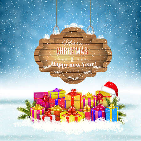 christmas gifts: New year and  Merry Christmas Winter background with presents and giftbox and  wooden ornate . Vector illustration,  concept for greeting or postal card Illustration