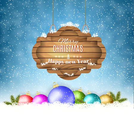 postal card: New year and  Merry Christmas Winter background with christmas balls and  wooden ornate . Vector illustration .  concept for greeting or postal card