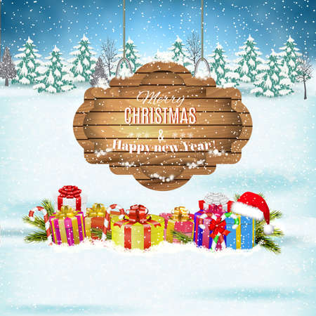 postcard box: New year and  Merry Christmas Winter landscape with presents and giftbox and  wooden ornate . Vector illustration.  concept for greeting or postal card Illustration