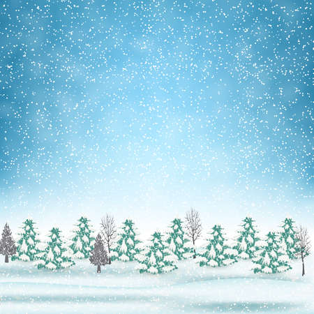 postal card: New year and  Merry Christmas Winter landscape . Vector illustration.  concept for greeting or postal card Illustration
