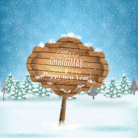 postal card: New year and  Merry Christmas Winter landscape with  wooden ornate . Vector illustration.  concept for greeting or postal card Illustration