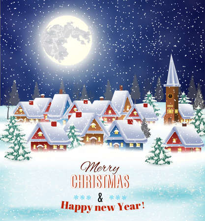 country christmas: New year and Christmas winter village  night landscape background. Vector illustration. concept for greeting or postal card