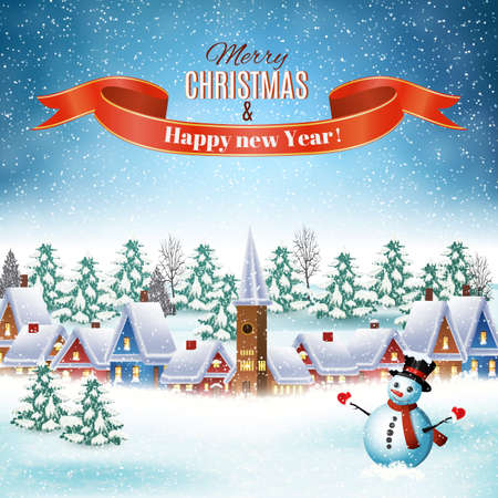 snow: New year and Christmas winter landscape background with snowman. Vector illustration. concept for greeting or postal card.