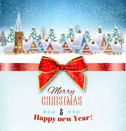 New year and Christmas winter village  landscape background and a red gift ribbon. Vector illustration. concept for greeting or postal card