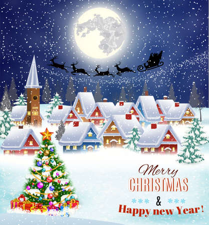 claus: New year and Christmas winter landscape with christmas tree .  background with moon and the silhouette of Santa Claus flying on a sleigh. concept for greeting or postal card, vector illustration