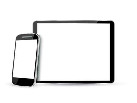 apple isolated: Set of realistic computer tablet and mobile phone with empty  screen. vector illustration