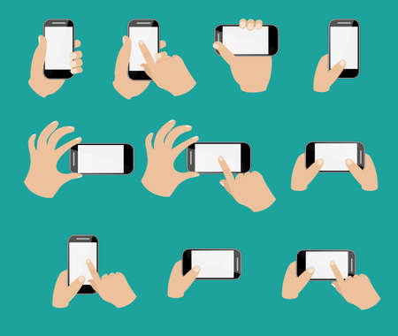 using smartphone: Set of hand holding smart phone. Flat style icons. Vector illustration
