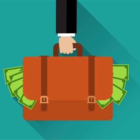 Businessman hand holding briefcase full of money.  向量圖像