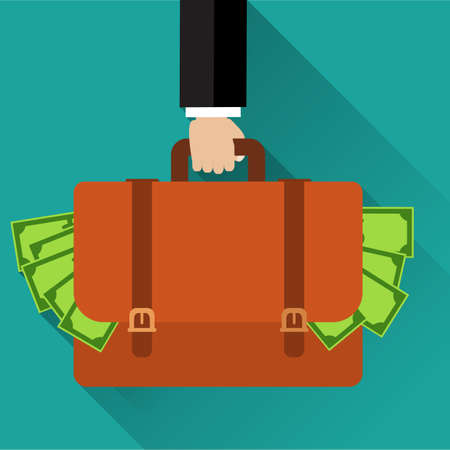 burgle: Businessman hand holding briefcase full of money.  Illustration