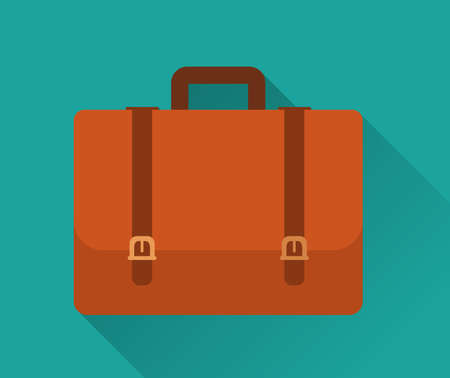 attache: Flat Icon of Briefcase . Isolated on stylish green background. Element with a long shadow. Modern