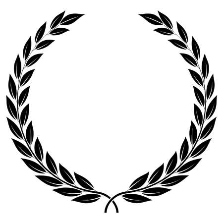white coat: A laurel wreath - symbol of victory and achievement. Design element for construction of medals, awards, coat of arms or anniversary logo. Black silhouette on white background. Laurel wreath icon Illustration