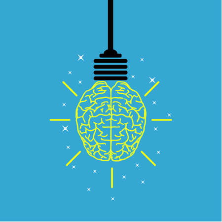 communication icon: Creative brain Idea and light bulb concept, design for poster flyer cover brochure, business idea, education concept. Illustration