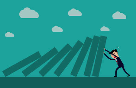 Cartoon business executive pushing hard against falling deck of domino tiles. Creative vector illustration for concept on determination and resilience Stock Illustratie
