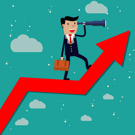 future business: Businessman stand on arrow graph using telescope looking for success, opportunities, future business trends. Vision concept. Cartoon Vector Illustration.