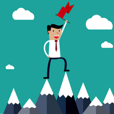 high spirits: Successful businessman holding flag on top of mountain. Success concept.