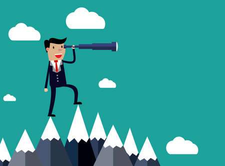 Businessman stand on top of mountain using telescope looking for success, opportunities, future business trends. Vision concept.