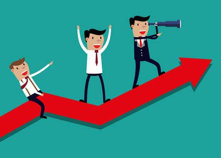 uomo rosso: Illustrazione della squadra di affari sul grafico freccia. Team leader ha telescopio e porta la sua squadra al successo