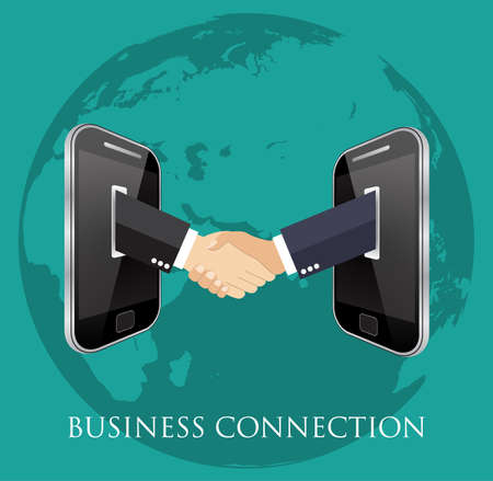 ebusiness: business connection and relations. Handshake, business icons in flat, e-business, apps banner
