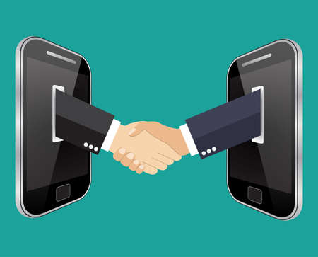 usiness connection and relations. Handshake, business icons in flat, e-business, apps banner