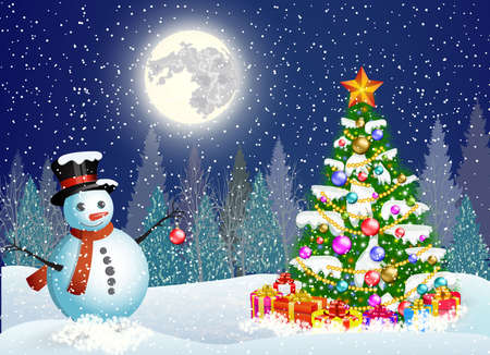 christmas winter: Vector illustration of a cute snowman decorating a Christmas tree. concept for greeting or postal card. New year and Christmas winter landscape background