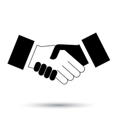 handshake: icono negro del apret�n de manos. fondo para los negocios y las finanzas. Vectores
