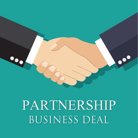 saludo de manos: acuerdo empresario apretón de manos. estilo plano. dar la mano. símbolo de una transacción exitosa