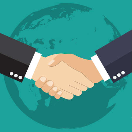 design office: Worldwide cooperation concept - Business handshake with world map and connected user icons Illustration