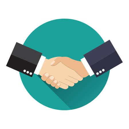 Handshake Geschäftsvereinbarung. Vector illustration flachen Stil. Hände schütteln. Symbol für eine erfolgreiche Transaktion