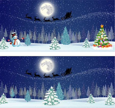 Cute snowman and Christmas tree with giftbox,  on the background of night sky with  moon and the silhouette of Santa Claus flying on a sleigh . Vector illustration horizontal banners
