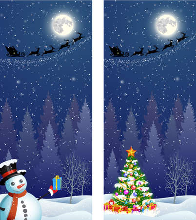 christmastree: Cute snowman and Christmas tree with giftbox,  on the background of night sky with  moon and the silhouette of Santa Claus flying on a sleigh . Vector illustration vertical banners Illustration