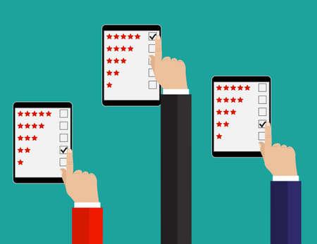Beoordeling illustratie. Plat ontwerp. Beoordelingssysteem op telefoonscherm. Feedbackconcept geven.