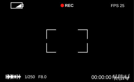 viewfinder: Camera viewfinder. Template focusing screen of the camera. Viewfinder camera recording. Video screen on a black background. vector illustration