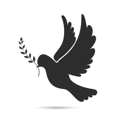 foglie ulivo: Icona di volo della colomba con il ramoscello d'ulivo nel becco. illustrazione vettoriale
